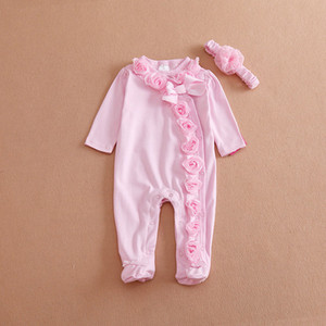 Newborn Baby Girl Clothes Lace Flowers Romper Clothing Set Jumpsuit & Headband 2 PC Cute Infant Cirls Rompers