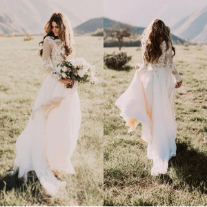 Bohemian Ivory Long Sleeves Country Wedding Dresses Jewel Lace Applique A Line Chiffon Bridal Gowns Custom Made Plus Size Boho Wedding Gowns