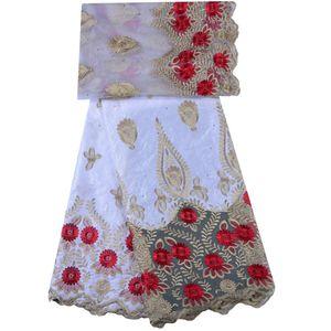 Tessuto di pizzo africano Guinea Bazin Riche Fabric Set con 2 Yard French Net Lace per camicetta 2018 Ultime Bazin Riche Getzner 1293