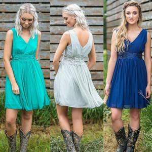 저렴한 짧은 쉬폰 신부 들러리 드레스 브이 넥 레이스는 명예 드레스 웨딩 게스트 가운 맞춤의 $ 60 BM0140 만든 메이드 복장