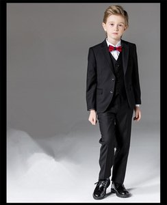 Boys Formal Suits for Weddings Brand England Style Man Child Black Party Tuxedos Boys Formal Suits Blazer+Pants+Vest 4-14Y