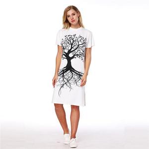 Оптовая Бесплатная доставка лето женщины случайные свободные Сплит Белый длина до колен 3d Sublimtaion печати лес дерево животных летнее платье