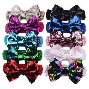 Mais recente bandas Adorável Bebés Meninas Big Paillette Bow Headbands Miúdos do Natal da listra do ponto de Poka Cabeça Sequins bowknot Coelho Cabelo Acessórios A9183