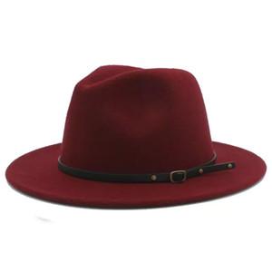 100% Yün Kadınlar Outback Gangster Fötr Fedora Şapka Geniş Brim Caz Godfather Cap Szie Ile Keçe 56-58 CM X18