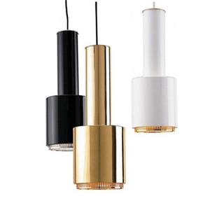 Modern LEVOU Lâmpada Pingente de Metal Ouro E27 Luz Pingente Para Restaurante Bar Mesa Projeto Preto de Ouro Branco Pendurado Iluminação AL139