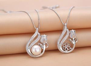 Zircon Solid Sterling Silver Pingente de prata (com corrente), montagem de colar, colar em branco sem pérola, padrão rosa, jóias diy, presente