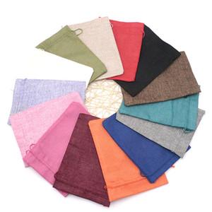 100 unids 15 * 20 cm tela de lino lazo / caramelo joyas bolsas de regalo paquete / arpillera regalo / bolsas de yute bolsas de bolsa de energía móvil