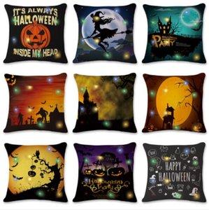 LED Halloween 45 * 45 Fronha Decorativa Throw Pillow Case Capa de Abóbora Especiarias LED Cor Luz Capas de Almofada Para Sofá Cadeira Do Sofá