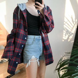 3colors 2017 autumn new arrival bf style faux two pieces hoodies plaid shirts womens blosens (F439)