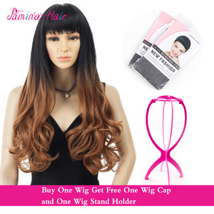 PMINA HAIR Two Tone Ombre Curly Wavy Wigs Heat Resistat Dark Root to White 1B 30 Full Head Wigs (1b 30)