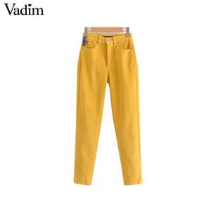 señoras de las mujeres sólidas vadim pana diseño de cosecha, los bolsillos del pantalón de cremallera estilo europeo longitud de los pantalones ocasional del tobillo KA265