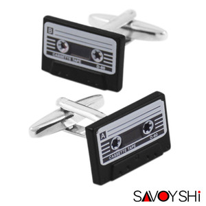 SAVOYSHI Retro Cassette Tape Cufflinks for Mens Shirt Cuff Bottons High Quality Enamel Cufflink Fashion Brand Men Jewelry Design