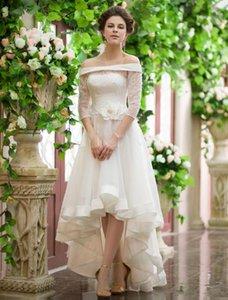 Estilo Vintage Alta Baixa Vestidos De Casamento Fora Do Ombro Meia Manga Flor Cinto De Renda Organza Curto Frong Longo Voltar Vestidos de Noiva Personalizado