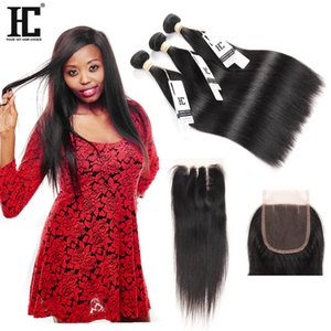 Malaysian Straight Hair Bundles with Closure Maiaysian Virgin Human Hair 3 Bundles With Closure 4 PCS lot Lace Closure with Bundles