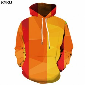 KYKU Colorful Hoodies For Men Harajuku 3d Print Hoodie Gothic Stripe Retro Sweatshirt Long Anime Mens Clothing Pullover Hooded