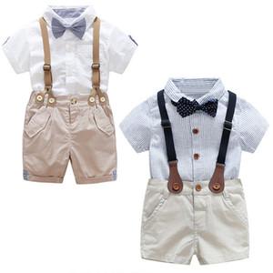 Vieeoease Meninos Cavalheiro Conjuntos de Roupas de Bebê 2018 Verão Curto T-shirt de Manga Curta + Macacão Shorts 2 pcs EE-176 mc