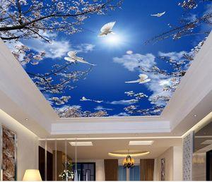 사용자 정의 3D 벽화 벽지 천장 호텔 벚꽃, 푸른 하늘 벽화 벽지 3D 천장 벽지