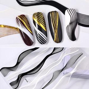 Novo 3D Prego de Ouro Adesivos Decalques Elegante Simples Stripe Pattern DIY Nail Art Decoração Prego Maquiagem
