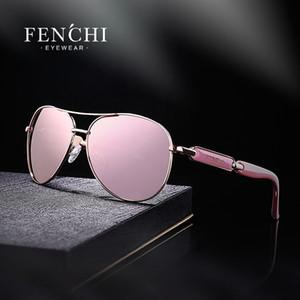 X FENCHI 2018 óculos de sol condução de metal espelho piloto design de moda new sunglasses mulheres de alta qualidade rosa