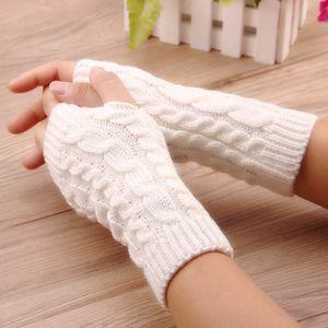 النساء قفازات أنيقة اليد أدفأ قفازات الشتاء النساء الذراع الكروشيه الحياكة فو الصوف القفاز أصابع قفازات دافئة ، غانتس فام D18110806