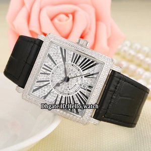 Mode 36mm Datum LADIES'COLLECTION Master Square 6000 K SC DT R D CD Weißes Zifferblatt Quarz Damenuhr Lederband Damenuhr