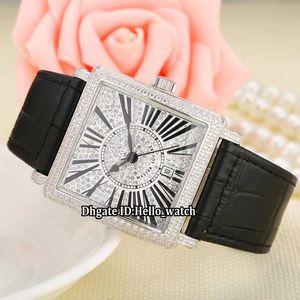 Moda 36 mm Fecha LADIES'COLLECTION Master Square 6000 K SC DT R D CD Reloj de cuarzo blanco con esfera blanca y diamante para mujer Reloj de señora