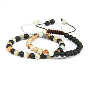 Простой браслет дружбы Оптовая 6 мм натуральный матовый Оникс Шушан камень бусины макраме пары браслеты хороший подарок