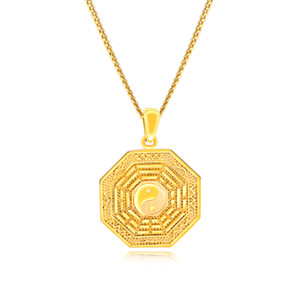 Collana pendente tai chi oro tono Gossip equilibrio Simbolo catena Yin Yang Split per uomo o donna