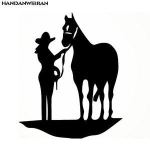 HANDANWEIRAN 15*18 CM divertido Animal caballo pegatinas de coche reflectante caballo motocicleta calcomanías coche estilo negro/blanco