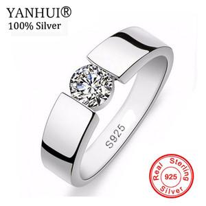 YANHUI мужчины свадебные украшения 100% стерлингового серебра 925 комплект кольцо 1 карат Сона CZ Diamant обручальное кольцо размер кольца 6 - 11 YRD10 Y1891205