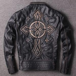 2017 estampillé Criss-Cross vintage affliction vestes en cuir véritable moto hommes vestes vente