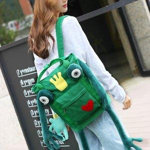 Borsa Cartoon Cute Frog Backpack Uomini e donne Studenti delle scuole medie Studenti Borsa da viaggio in tela personalizzata