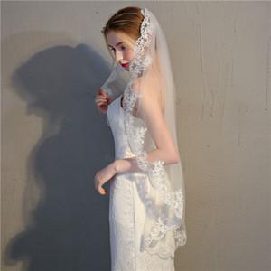 Véus de noiva Curto rendas borda dedo véu barato acessório berta designer boho marfim véu de noiva novo
