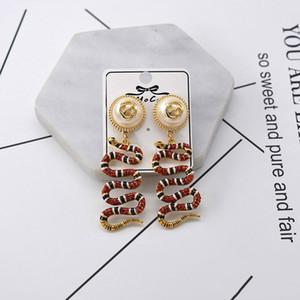 Discount Luxury Designer Snake Diamond Studs For Women Rhinestone Snake Animal Earrings Pendant Womens Accesscires Pearl Flower Earrings
