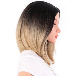 Frauen kurze glatte Ombre BOB sytle Perücke Schöne Synthteic Haarperücke Frauenhaar