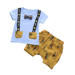 Boys Summer T-shirt and Pants Kids Cotton Clothing Set Boys Letter Print Tops Trousers Clothes for Children Outfits