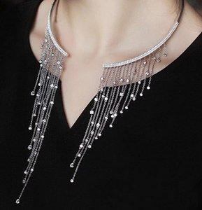 Nuovo prodotto di vendita corte dea nappa collare zircone apertura collana collana anello collana