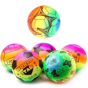 Alta calidad PVC 20 CM Rainbow inflable pelota de playa de juguete para niños piscina de verano juego de natación juego divertido partido de la bola al azar