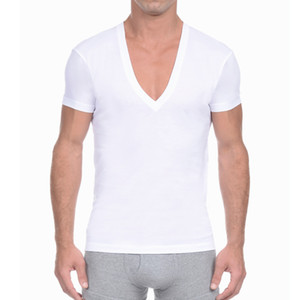 Мужская Глубокий V шеи Футболка с коротким рукавом Повседневная Твердая Undershirt Mens лета хлопка Базовая футболка