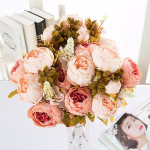 1 Buket 10 Başkanları Vintage Yapay Şakayık İpek Çiçek Düğün Ev Dekor Yüksekliği Kaliteli Sahte Çiçekler Şakayık DHL Ücretsiz