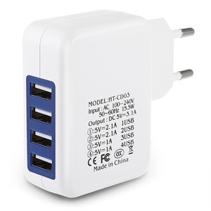 EUA Plug UE Casa de Viagem Carregador de Parede 4 Portas USB Adaptador de Carregamento para Telefones Celulares GPS etc Dispositivos Móveis