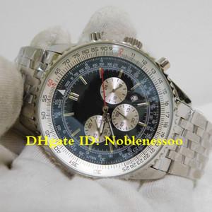 2 Estilo de luxo Mens Navitimer 01 46 milímetros Black Dial relógios dos homens do esporte pulseira de aço de aço Mens Watch AB0127 Quartz Chronograph Stainless