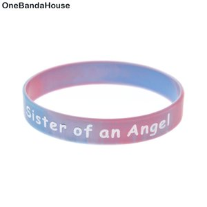 1 unid remolino color hermana y hermano de un angel silicona de pulsera de goma de goma adulto regalo de la familia