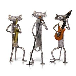 Artigianato moderno Scultura in metallo Art Playing Guitar Cat Figurine Ornament Articoli Artigianato Oggettistica per la casa