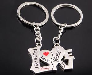 Love You Forever Regalos de boda Love Heart Colgante Llavero Favors Lovers Keyrings Llavero de aleación de coche para parejas