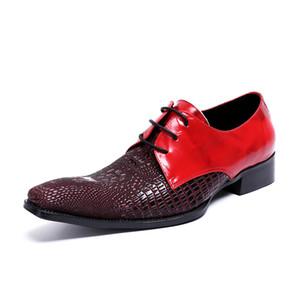 Sapato social masculino rojo negro vestido de novia oficina oxford zapatos para hombres elegantes prom zapatos de diseñador formal con cordones mocasines