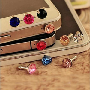 Mini 3.5mm Jack Crystal Rhinestones Cellphone Charms Cuffie audio Cuffie Anti Crown Polvere Plug Crystal Phone