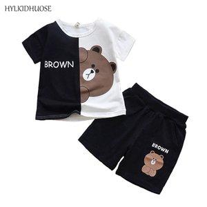 Hylkidhuose meninas meninos roupas ternos 2018 roupas de verão bebê infantil dos desenhos animados urso camiseta shorts crianças crianças roupas casuais