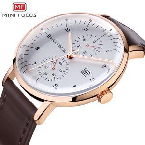 MINIFOCUS Top para hombre de los relojes grandes del dial de oro rosa de moda Quart Reloj impermeable del calendario masculino reloj cronógrafo