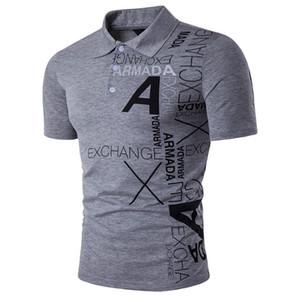 Une Lettre Impression Mâle De Mode De Haute Qualité Tops Vêtements Turn Down Polo Polos Chemise Hommes Polos